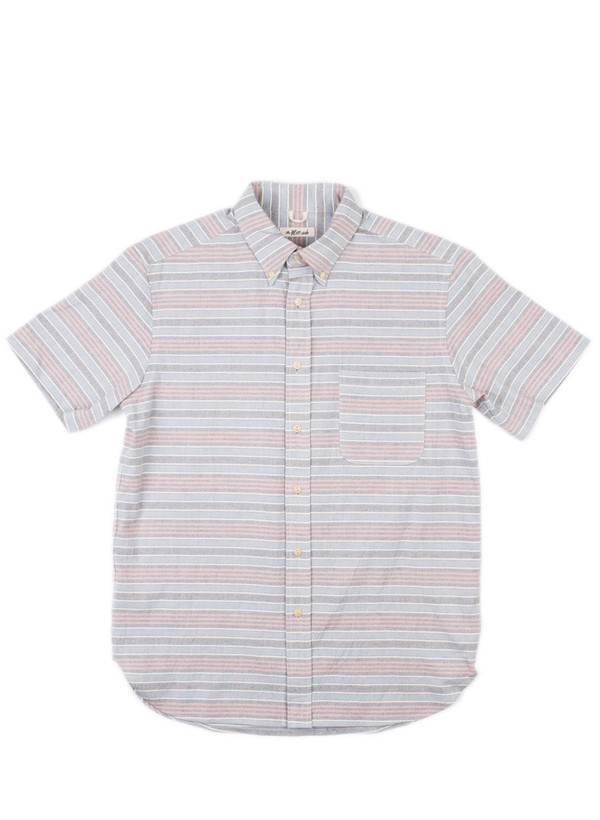 Men's The Hill-Side SS Standard Shirt Natural Warp Border Stripe