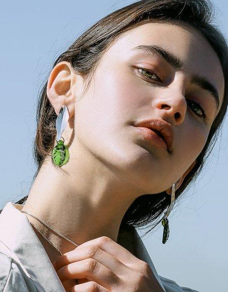 Cled Leaf Earrings - Sterling Silver