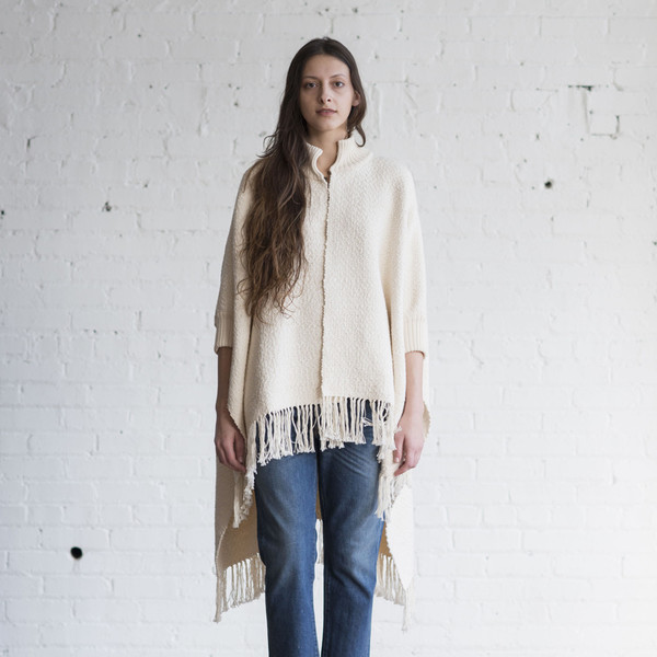 Apiece Apart Heavy Weight Cotton Fringe Poncho