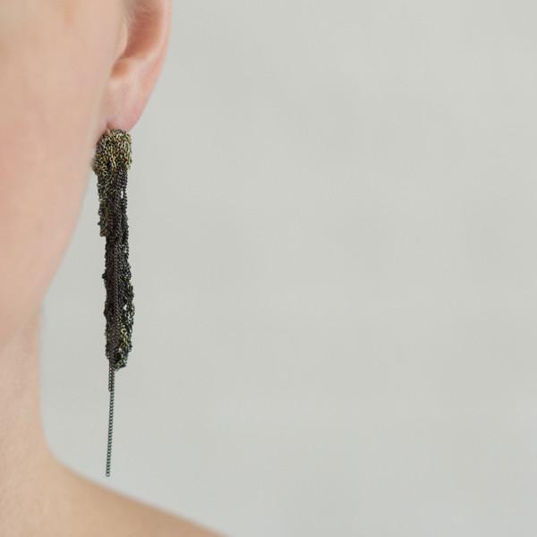 Arielle De Pinto 2-Tone Drip Earrings Lichen/Charcoal - SOLD OUT