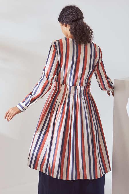 Kowtow Story Dress in Parasol Stripe