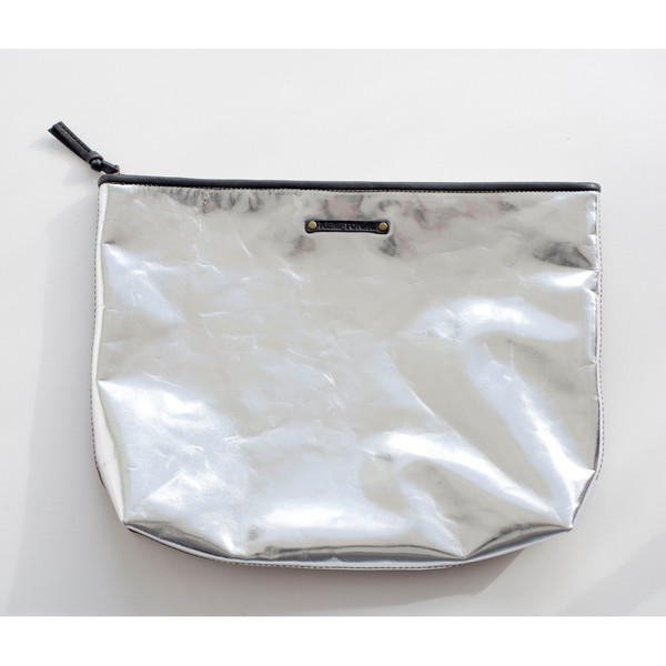 Kempton & Co Camden Clutch Silver Metallic/Brandy