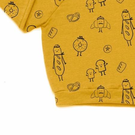 Kira Kids Bread Print Raglan Sweatshirt - yellow