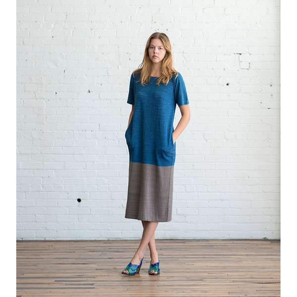 Lauren Manoogian Block Tall T Dress Indigo/Pimienta - SOLD OUT