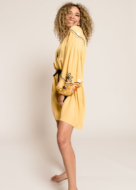 Devotion Short Dress With Embroidery - Yellow
