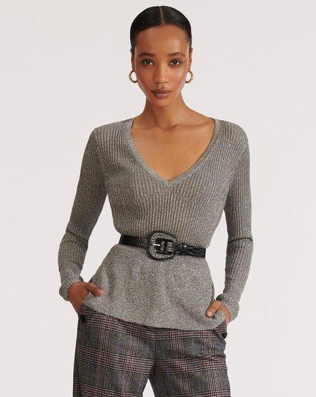 Veronica Beard Esmeralda V-Neck Pullover - gray