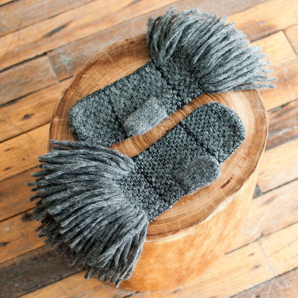 Rachel Comey Fringe Mittens Charcoal - SOLD OUT
