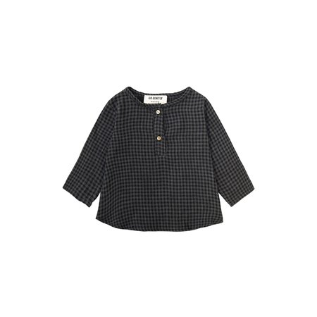 Kids Go Gently Nation Placket Top - Gray/Black Gingham