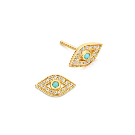 Astley Clarke Mini Evil Eye Biography Stud Earrings - 18k Yellow Gold