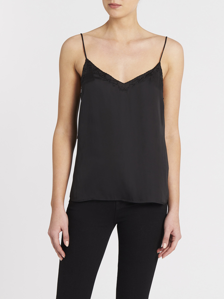 Paige Cicely Scallop Cami - Black