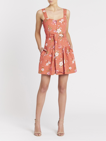 Rebecca Taylor Lita Floral Linen Dress - Sunset