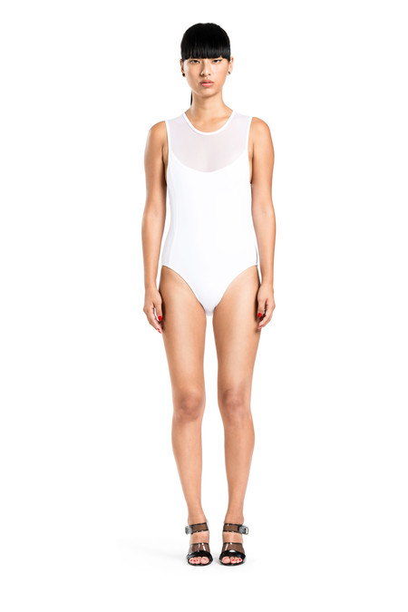 BETH RICHARDS Bardot One Piece - White SIGNATURE MESH TOP ONE PIECE WITH OPEN BACK