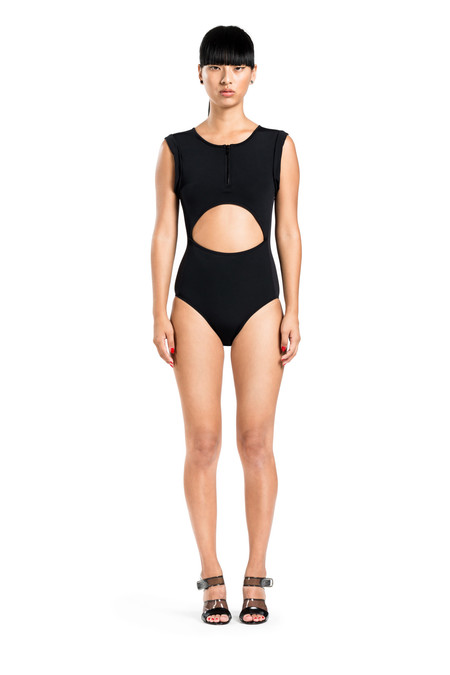 BETH RICHARDS Elle One Piece - Black SPORTY ONE PIECE WITH ROLLED SLEEVES, FRONT AND BACK CUT OUT AND FRONT ZIP
