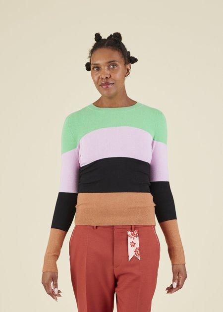 JOOSTRICOT Colorblock Crewneck Sweater - Cinnamon/Multi