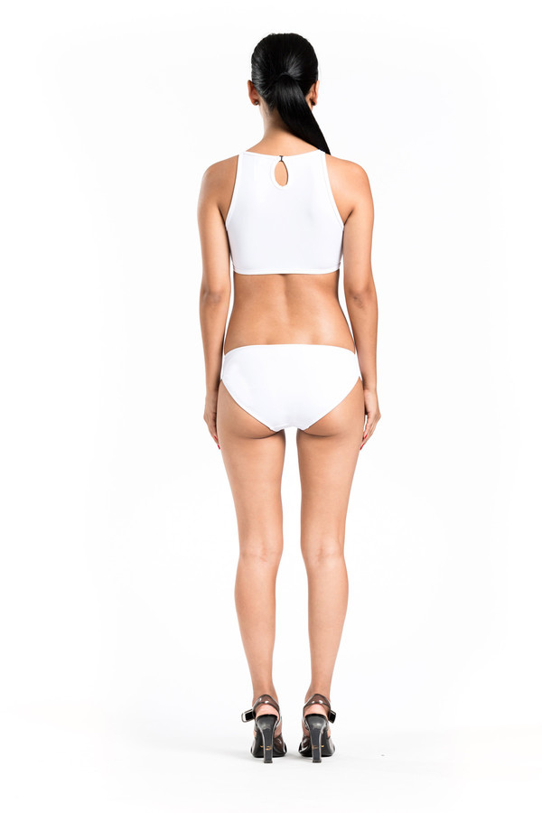 BETH RICHARDS Faye Top - White MESH HALTER TOP WITH BACK KEYHOLE AND TIE