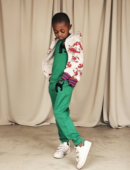 kids mini rodini panther wool terry trousers - green