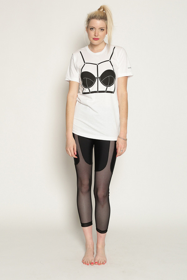 Chromat Harness Bra T-Shirt in White/Black