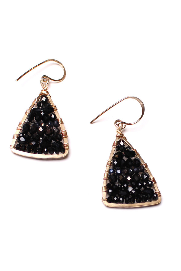 James and Jezebelle Black Onyx and Spinel Triangle Earrings