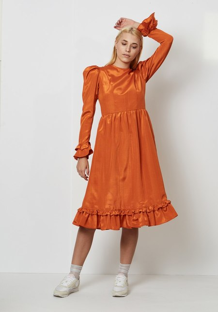 Batsheva Collarless Prairie Dress - Orange Moire