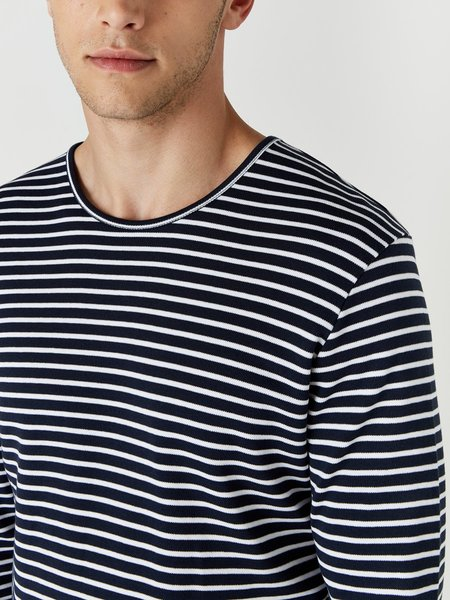 Wax London Duval Long Sleeve T-Shirt - White/Navy