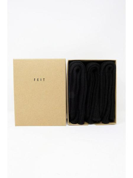 Feit 3-Pack Wool Long Socks - Black