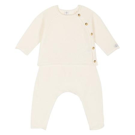 Baby Petit Bateau Two Piece Set Terry Long Sleeved Top And Sweatpants - White