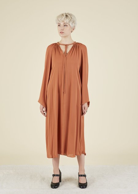 VOZ Bell Sleeve Silk Dress - Terracotta