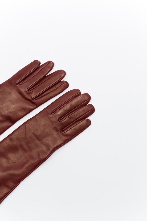Samuji Long Leather Burgundy Gloves