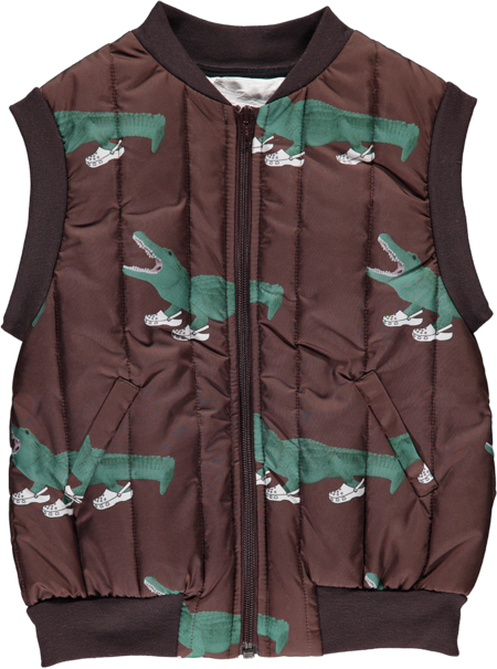 Kids caroline bosmans croc(o) printed vest - brown