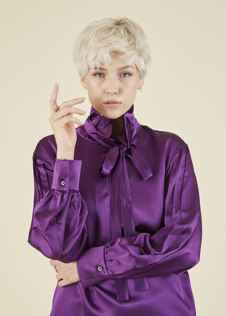 Odeeh Pleated Sleeve Tie Blouse - Mulberry