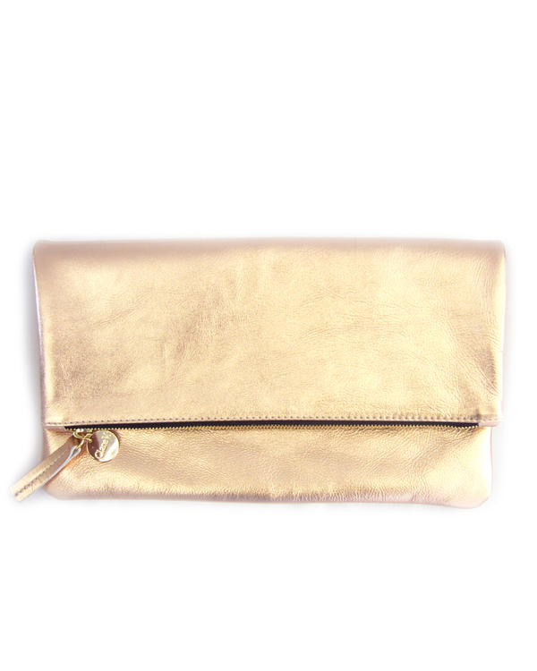 Clare Vivier Foldover Clutch - Rose Gold