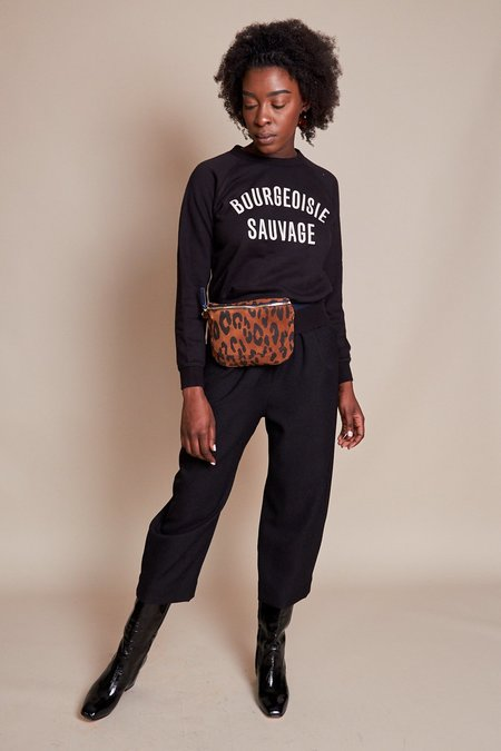 Clare V. Bourgeoisie Sauvage Sweatshirt - Black/Cream