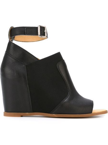 MM6 Maison Margiela Ankle Strap Wedge Sandals - Black