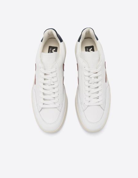 VEJA V 12 Leather Sneakers - Extra White/Marsala/Nautico