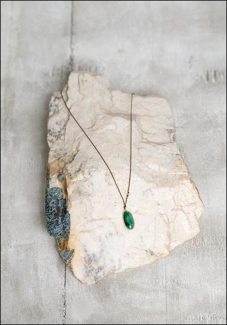 Margaret Solow Drop Necklace - 18k Gold/Emerald