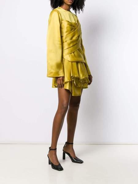 NINA RICCI Silk Satin Organza Dress - Golden