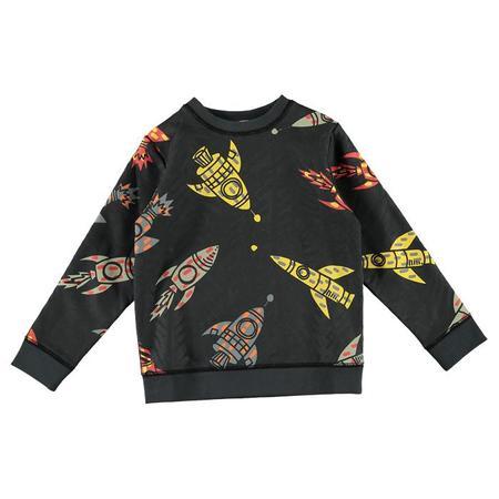 Kids Stella McCartney Child Sweatshirt With All-Over Rocket Print - Grey