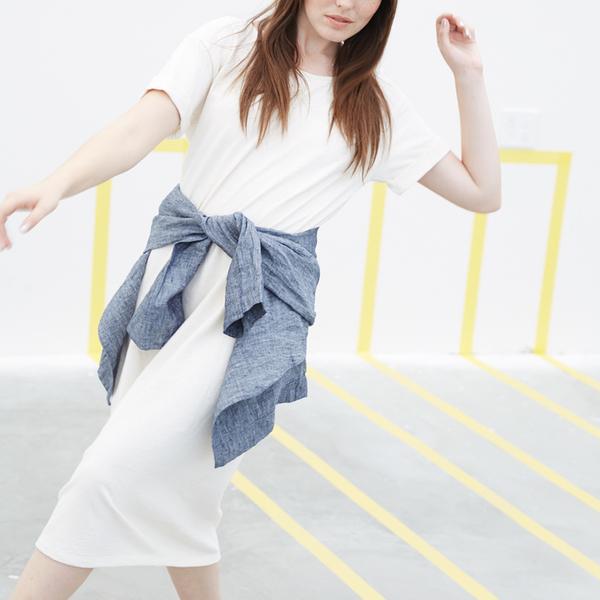 Ali Golden ROLL-SLEEVE T-SHIRT DRESS - CREAM