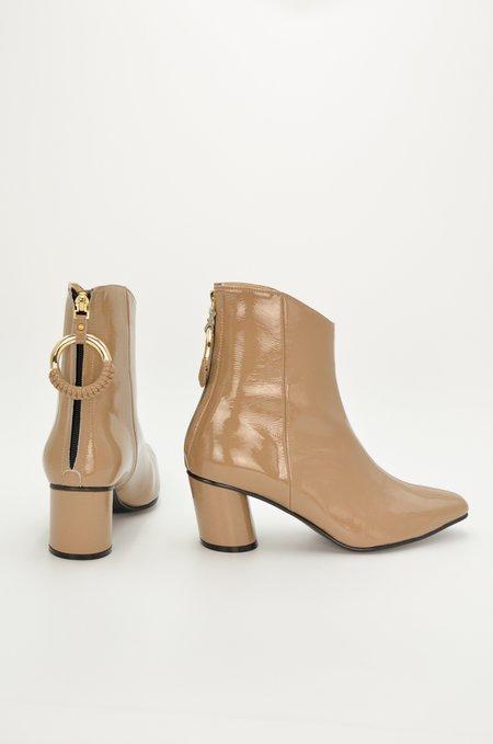 Reike Nen Oblique Turnover Ring Boots - Beige