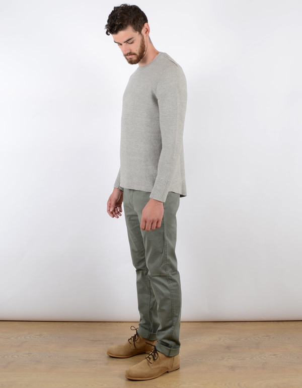 Filippa K Men's Pique Knit Sweater Light Grey Melange