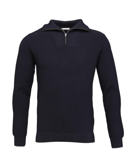 Knowledge Cotton Apparel Gots Rib Knit With Zipper Neck - Navy