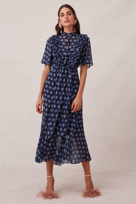 Keepsake Passion Midi Dress - Midnight Polka Dot