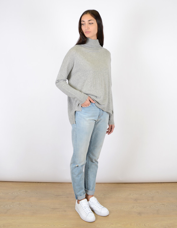 Just Female Carla Short Blouse Grey Melange