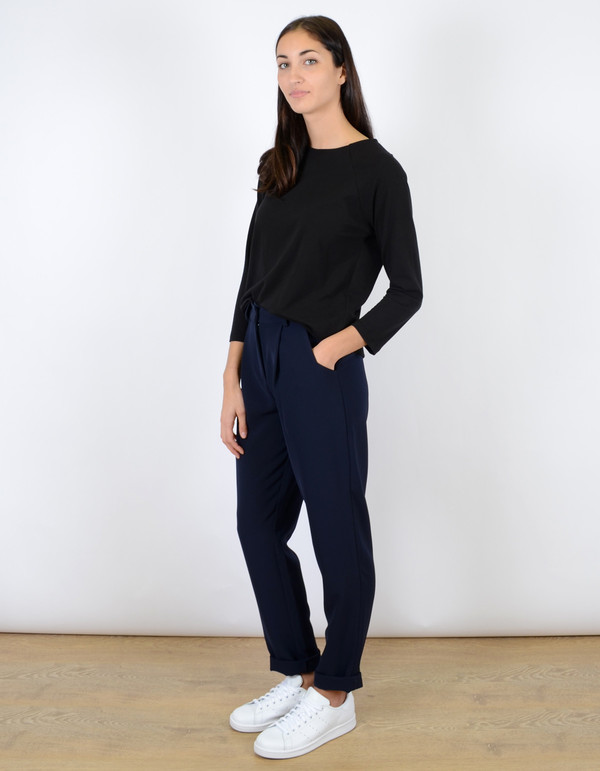 Just Female Eli Drape Trouser Deep Navy