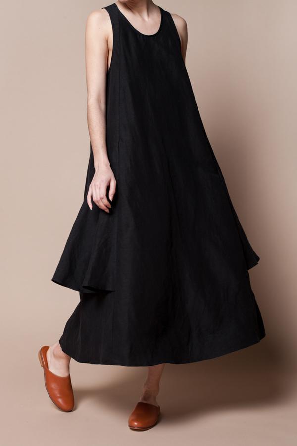 Creatures Of Comfort Lilith Dress - silk linen black