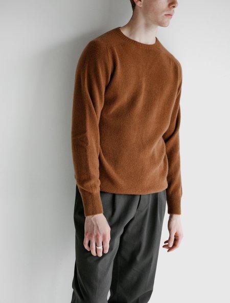 Margaret Howell Saddle Neck Crew Merino Cashmere Sweater - Copper