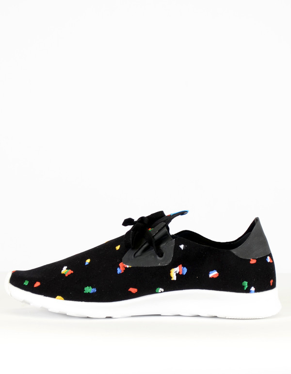 Native Shoes Native Apollo Moc Embroidered Jiffy Black Shell White Chipped Tokyo