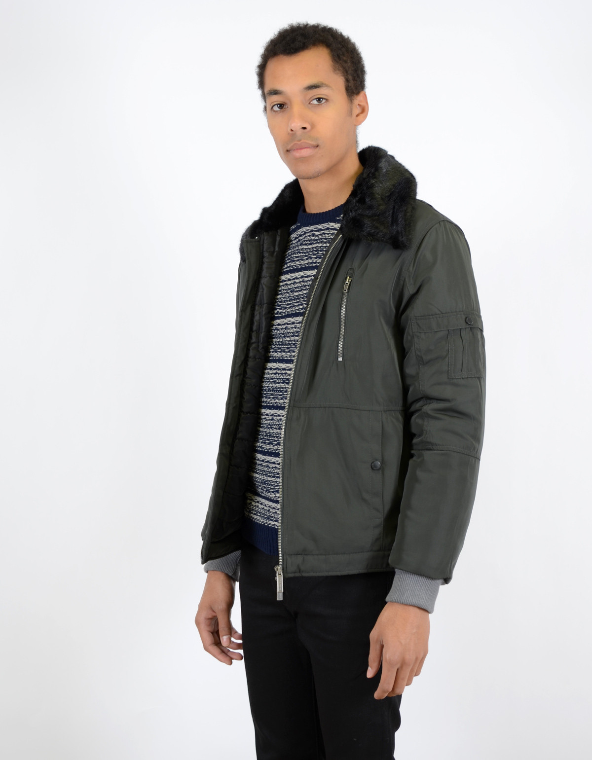 Men's Native Youth Fur Collar Flight Jacket | Garmentory