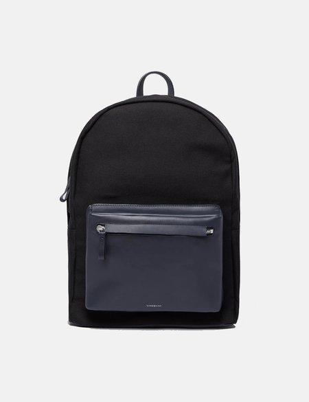 Sandqvist Ingvar Backpack in Canvas Leather - Black/Navy Blue