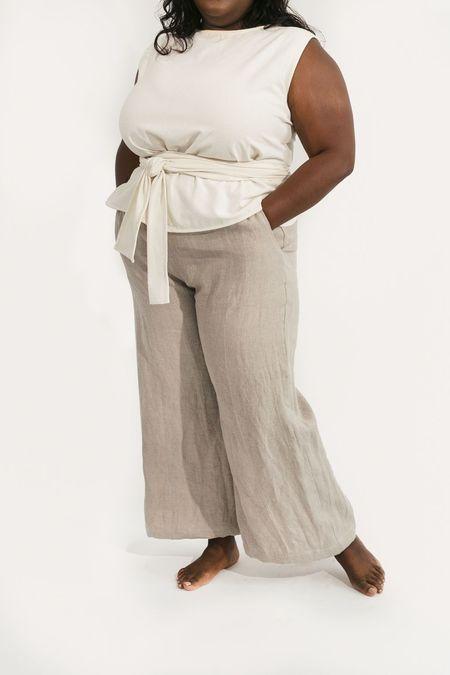 Two Fold Clothing Harris Wide Leg Regular Length Linen Pant - Flax